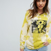 Obey Bleached Boyfriend Long Sleeve T-Shirt With Front Box Graphic at asos.com