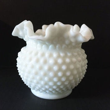 Hobnail Milk Glass Bowl with Ruffled Edges, Vintage Milk Glass Rose Bowl