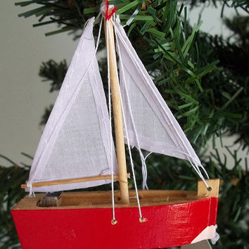 Wooden Sailboat Hanging Coastal Holiday Ornament