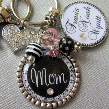 Mother's Day Gift  PERSONALIZED Mom Necklace- Children's Names, Black Damask, Rhinestone Heart Charm