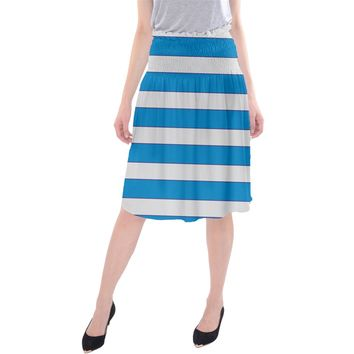 Blue And White Lines Midi Beach Skirt