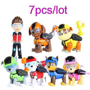 Original box 7pcs juguetes Kids toy puppy patrol with glasses movable joints Action Figures pawed Doll kids Birthday Gift