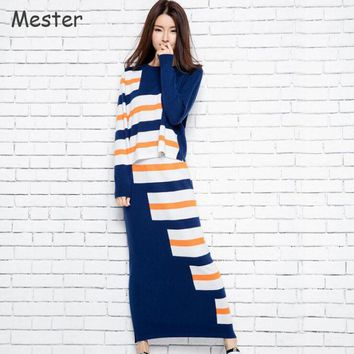 2017 Spring Women Cashmere Suit Fashion Geometric Knitted Two Piece Crop Top and Skirt Set Side Slit Striped Pencil Skirts New