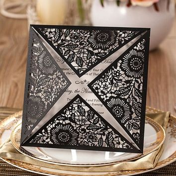 100pcs New Arrival Black Laser Cut Wedding Invitation with Hollow Flora Favors,Customizable, CW520_BL