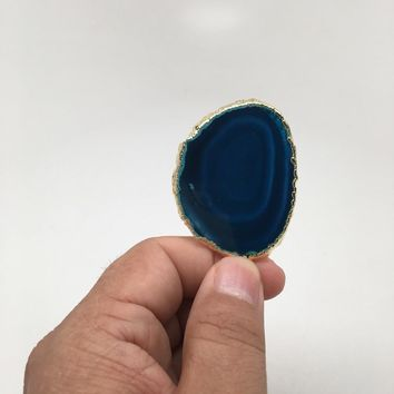 61 cts Blue Agate Druzy Slice Geode Pendant Gold Plated From Brazil, Bp1036