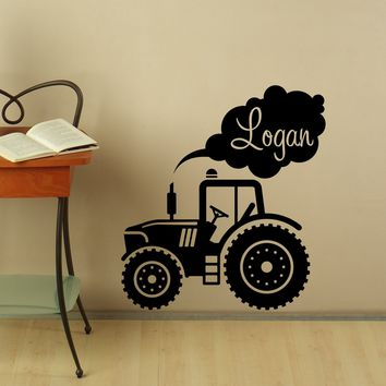 Personalized Name Wall Decal Tractor Vinyl Stickers Custom Kids Room Decor Made in US