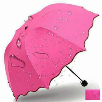 Cute Women Rain Umbrella Three Folding Stretch Parasol Windproof Waterproof Umbrella Big Automatic Umbrella for Girls