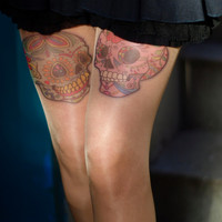 Tattoo-socks, colorful Two Sugar Skull realistic looking tattoo pantyhose, tattoo tights, tattoo socks