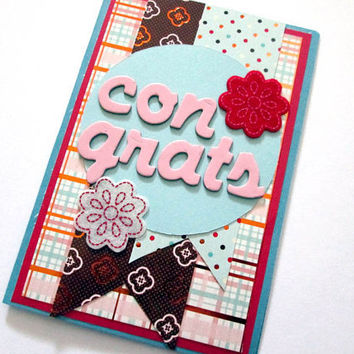 Congratulations Card, Blue, Red, Pink