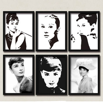 50 Shades of Audrey Hepburn Montage Canvas Posters DIY Retro Wall Decor for Coffee Club Cafe Cajun Kitchen Restaurant Food Kiosk Bakery Bistro Pitshop Diners Sunday Market 28x23cm
