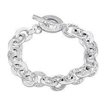 Sterling Silver 10.5mm Hammered Finished Link Bracelet with Toggle Clasp - 7.5 INCH