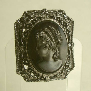 1940s Black Molded Tenite Cameo Japanned Vintage Mourning Jewelry