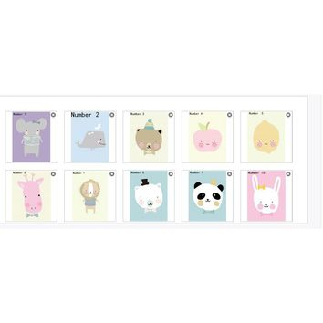Kawaii Cute Animal Poster Print Modern Nordic Cartoon Nursery Wall Art Picture Kids Baby Room Decor Canvas Painting No Frame10cm