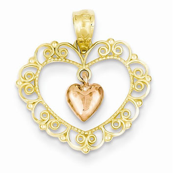 14k Two Tone Gold Rose Filigree Heart Pendant