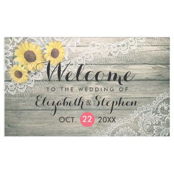 Rustic Wood Sunflowers Elegant Lace Wedding Banner