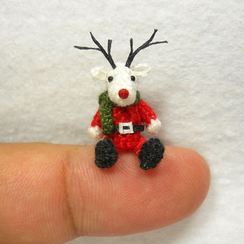 Miniature Reindeer - Tiny Amigurumi Crochet Mini Doll Stuffed Animal - Made To Order