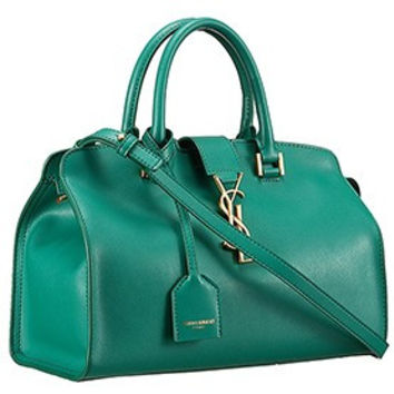 Saint Laurent Monogram Cabas Small Leather Bag Green