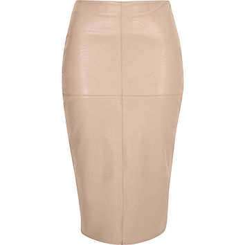 Nude leather look pencil skirt