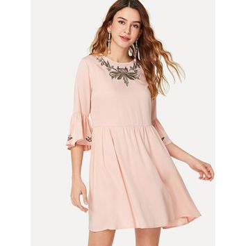 Pink Round Neck Ruffle Embroidery Shift Dress