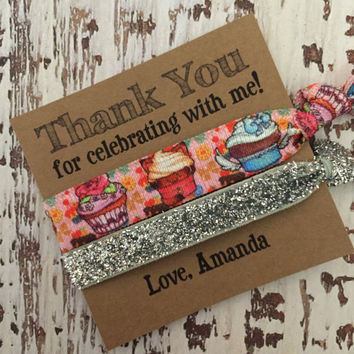 Hair Tie Birthday Favors // Thank you for coming // Goodie Bag Favors - Birthday Party - Wedding - Customizable