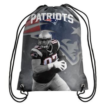 * New England Patriots Player Image Drawstring Backpack Gym Bag - Rob Gronkowski