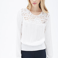Shirred Lace-Paneled Blouse