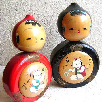 Japanese Kokeshi Doll Vintage Sisters 2 Dolls by VintageFromJapan