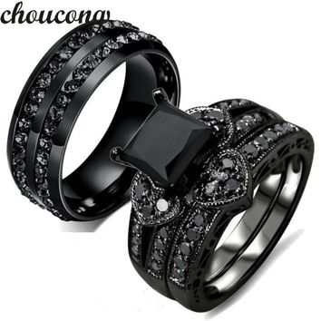 Choucong Fashion ring for women men AAA zircon Cz crystal Stainless Steel Lovers Party Wedding Band Ring Black gold Color