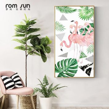 Nordic Style Monstera Flamingo Geometry Pattern Wall Art Long Banner Canvas Painting Poster And Print For Girls Room Home Decor