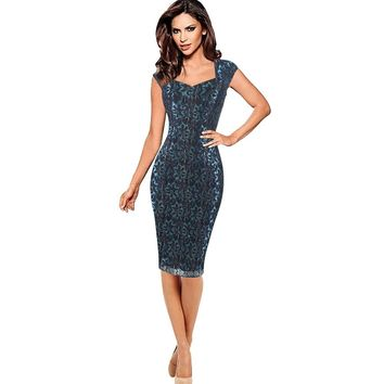 Womens Elegant Vintage Rockabilly Spring Floral Flower Print Pinup Square Neck Party Clubwear Sheath Bodycon Dress