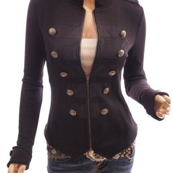 My Associates Store - Patty Women Smart Black Zip Up Front Long Sleeve Stand Collar Military Style Light Jacket