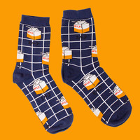Grid Milk Carton Sock | Navy
