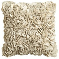 Felt Flowers Pillow - Sand