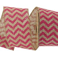 "2 1/2"" Hot Pink Chevron Wired Edge Ribbon 