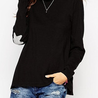 Casual Style Round Collar Long Sleeve Side Slit Star Pattern Knitwear