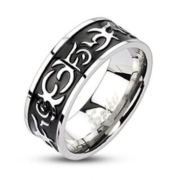 Center Black IP Casted Tribal Band Ring 316L Stainless Steel