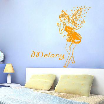 Fairy Girl Wall Decals Girl Personalized Name Magic Dust Vinyl Sticker Kids Room Decor Home Decor Vinyl Art Girl Nursery Room Decor KG269