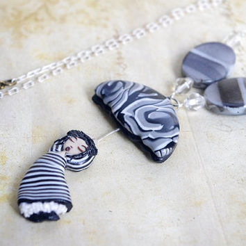 white black umbrella woman necklace , polymer clay pendant , cute jewelry , girl shape pendant , kawaii necklace , gift for teen , sweet 16