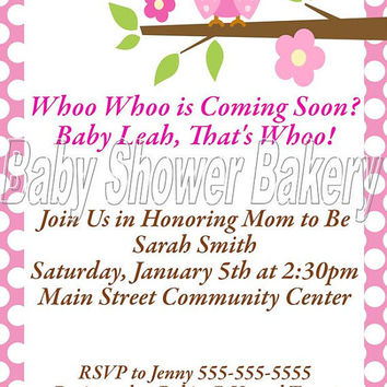 Printable Baby Shower Invitation, Owl Baby Shower Invitation, Girl Owl Baby Shower, Pink Owl Baby Shower Invitation