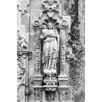 Carved Stone Sculpture of St. Anne on the Exterior of Mission San José (A0017991)