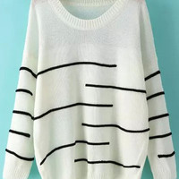 Beige Long Sleeve Striped Knit Sweater