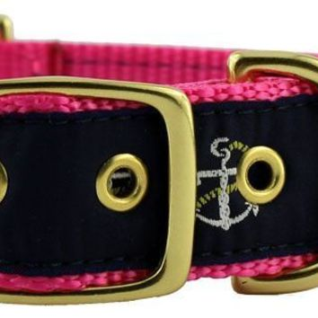 Dog Collar in Navy Ribbon on Pink Canvas with Anchors by Country Club Prep
