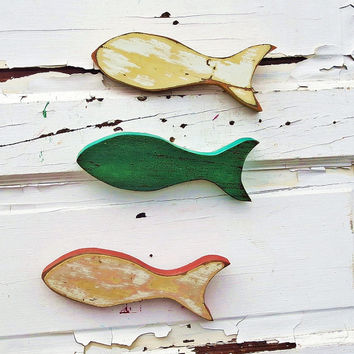 Three Wooden Fish, Nursery Decor, Nautical Wall Art, Reclaimed Wood Fish, Marine Wall Decor, Kids Room Art, Fisherman Decor, School of Fish