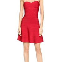 Herve Leger Autumn Strapless Dress