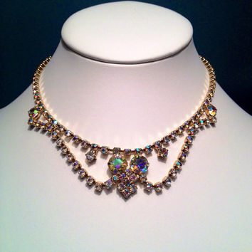 Vintage Aurora Borealis Juliana Style Elegant Glam AB Rhinestone Special Occasion or Wedding Jewelry in  Gold Tone
