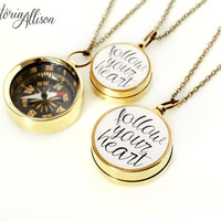 Follow Your Heart Compass Necklace, Brass or Silver Working Pocket Compass, Inspirational Jewelry, Graduation Gift, Moving Gift, Travel