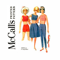 1960s Crop Tops Shorts and Pants Vintage Sewing Pattern Bust 32 McCalls 6371 Bare Midriff Tops, High Waist Pants, High Waist Shorts, Skirts