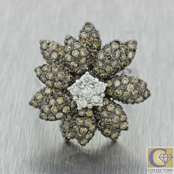 Modern Estate LeVian 14k White Gold 2.15ctw Chocolate White Diamond Flower Ring