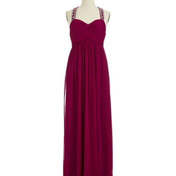 Betsy & Adam Embellished Gown with T Strap Back