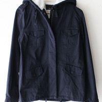 Faux Fur-Lined Hooded Jacket - Navy